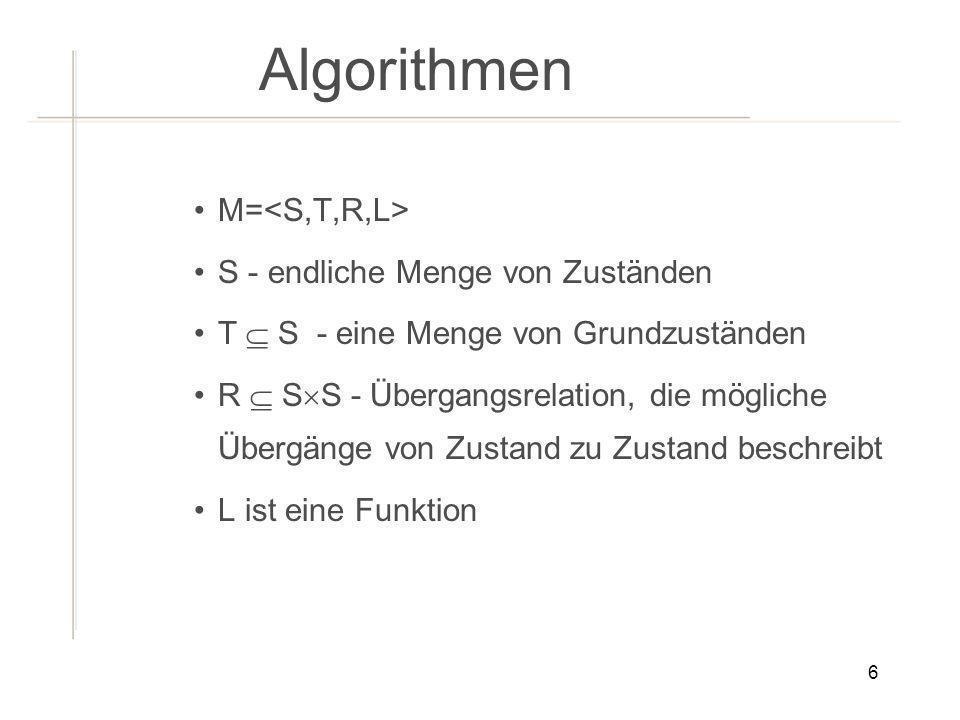 Algorithmen M=<S,T,R,L> S - endliche Menge von Zuständen