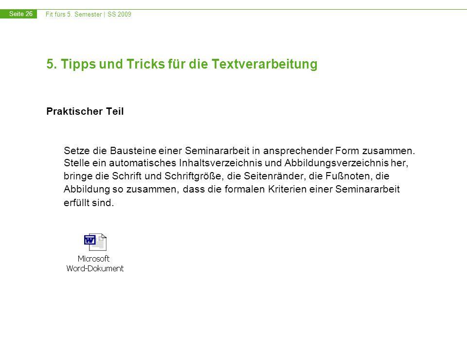 5. Tipps und Tricks für die Textverarbeitung