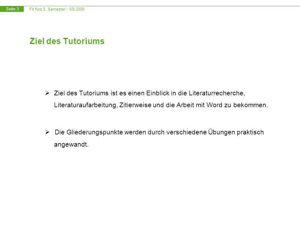 Ziel des Tutoriums