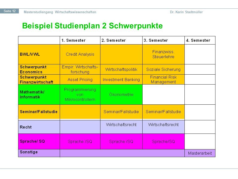 Beispiel Studienplan 2 Schwerpunkte