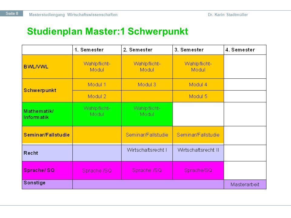 Studienplan Master:1 Schwerpunkt