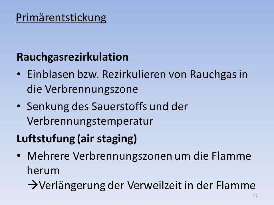 Primärentstickung Rauchgasrezirkulation. Einblasen bzw. Rezirkulieren von Rauchgas in die Verbrennungszone.