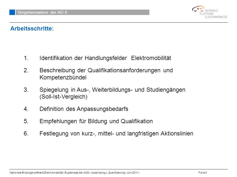 Identifikation der Handlungsfelder Elektromobilität