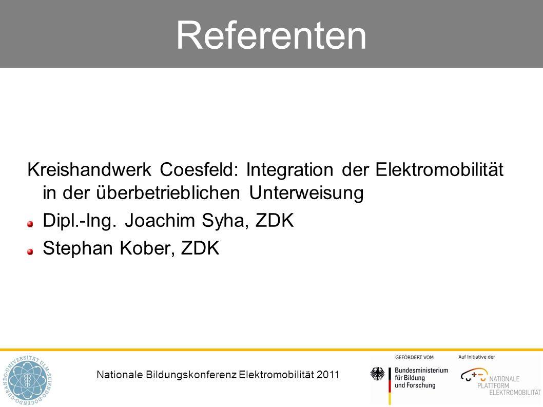 Referenten Kreishandwerk Coesfeld: Integration der Elektromobilität in der überbetrieblichen Unterweisung.
