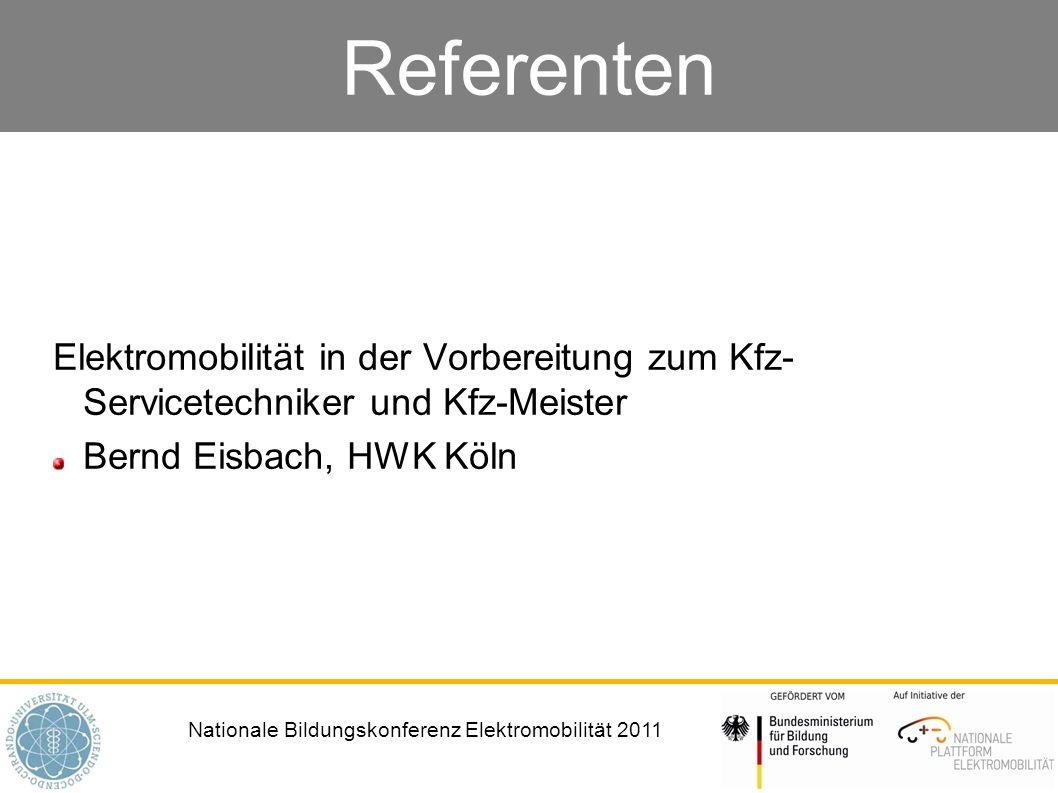 Referenten Elektromobilität in der Vorbereitung zum Kfz- Servicetechniker und Kfz-Meister.