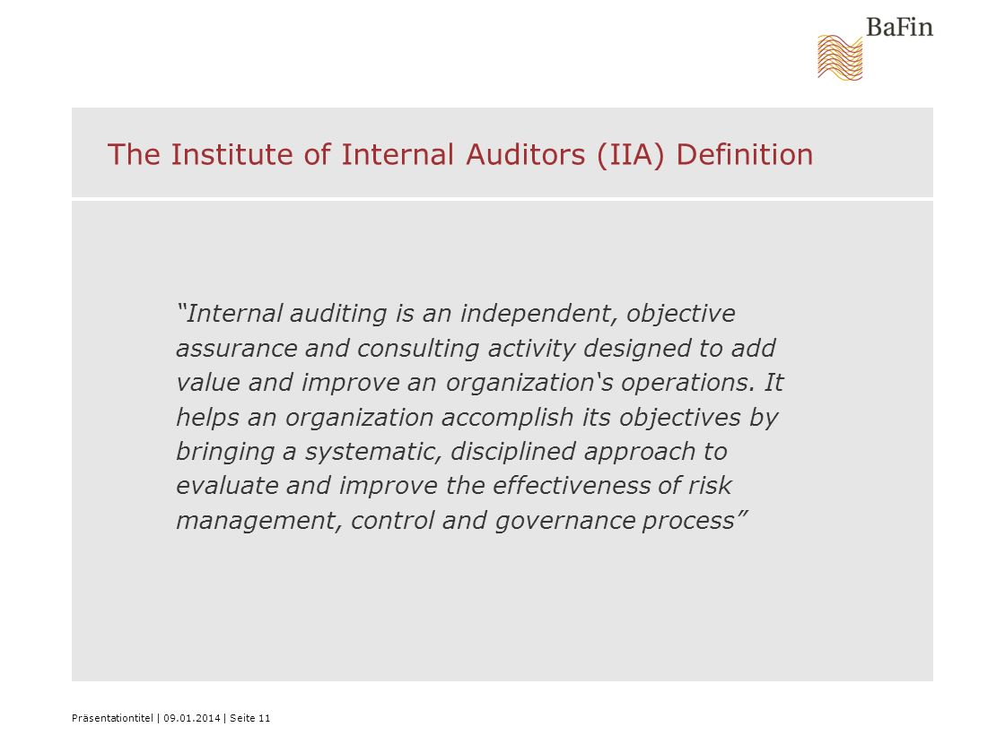 The Institute of Internal Auditors (IIA) Definition
