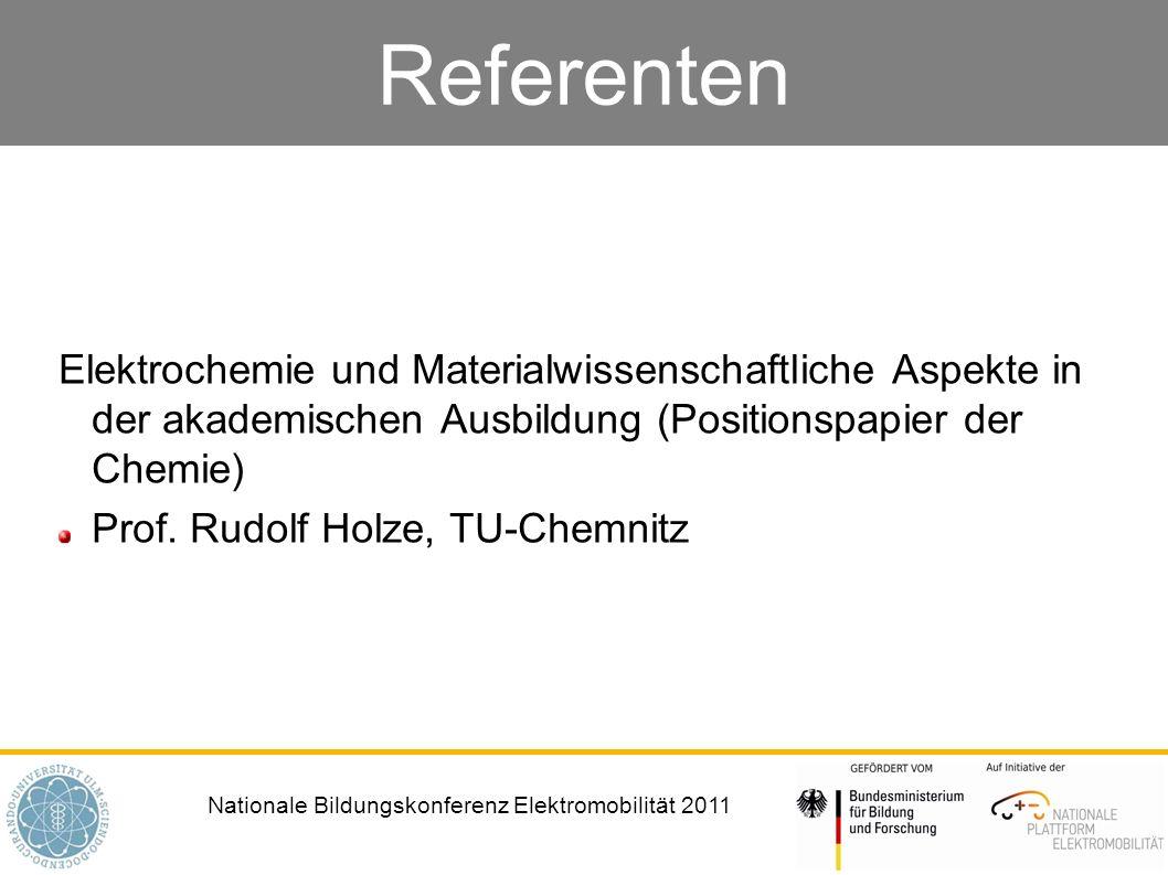 Referenten Elektrochemie und Materialwissenschaftliche Aspekte in der akademischen Ausbildung (Positionspapier der Chemie)