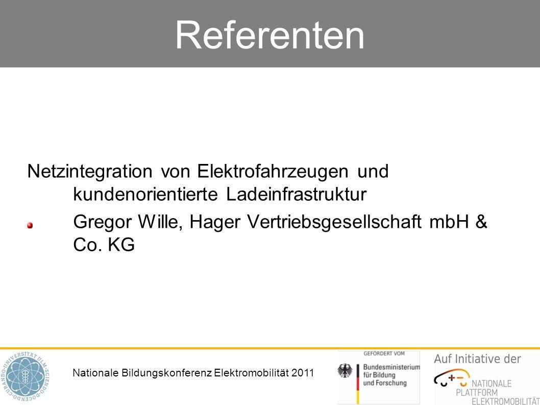 Referenten Netzintegration von Elektrofahrzeugen und kundenorientierte Ladeinfrastruktur.