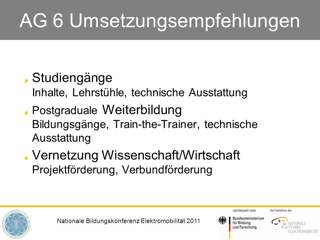 AG 6 Umsetzungsempfehlungen