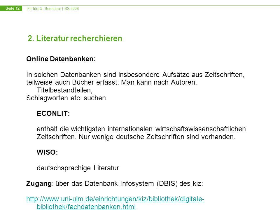 2. Literatur recherchieren