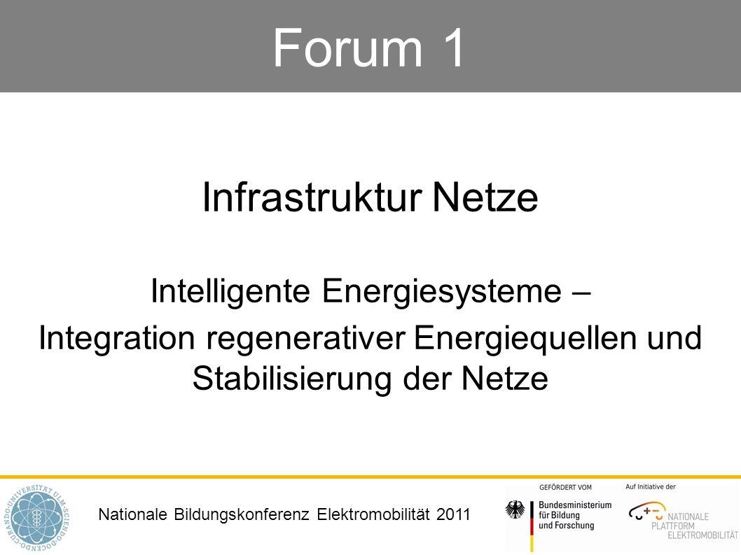 Forum 1 Infrastruktur Netze Intelligente Energiesysteme –