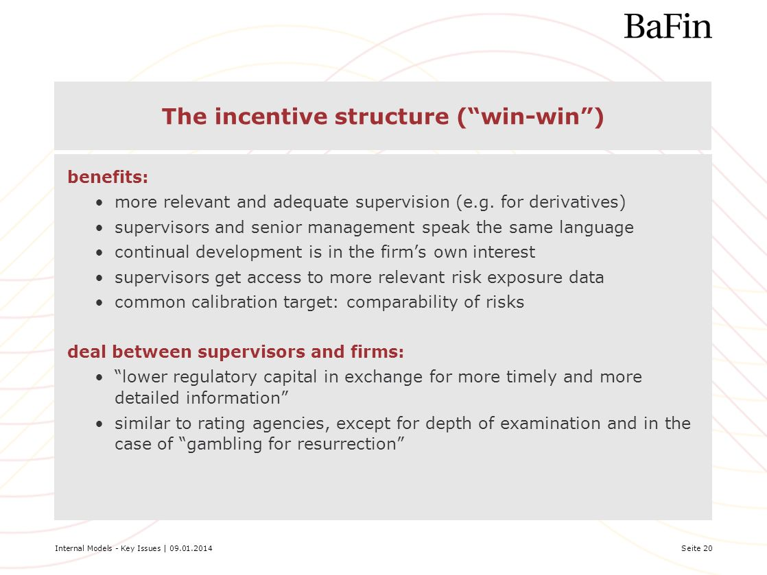The incentive structure ( win-win )