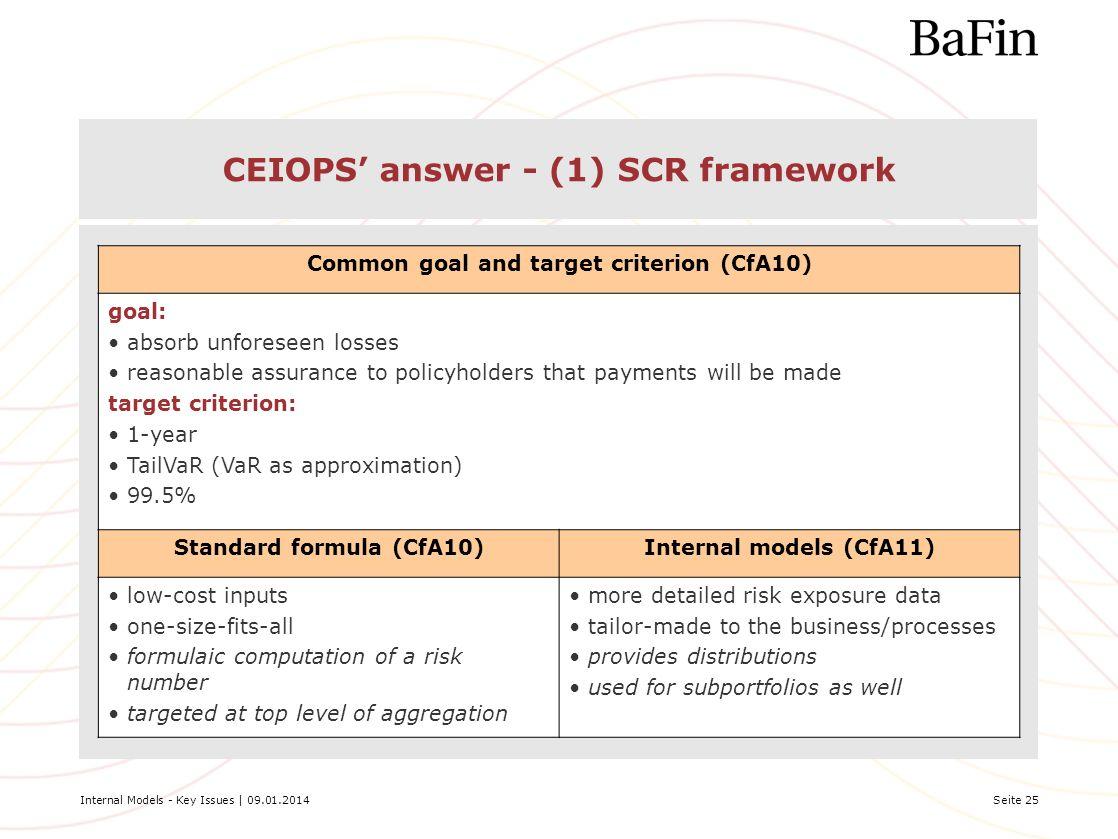 CEIOPS' answer - (1) SCR framework