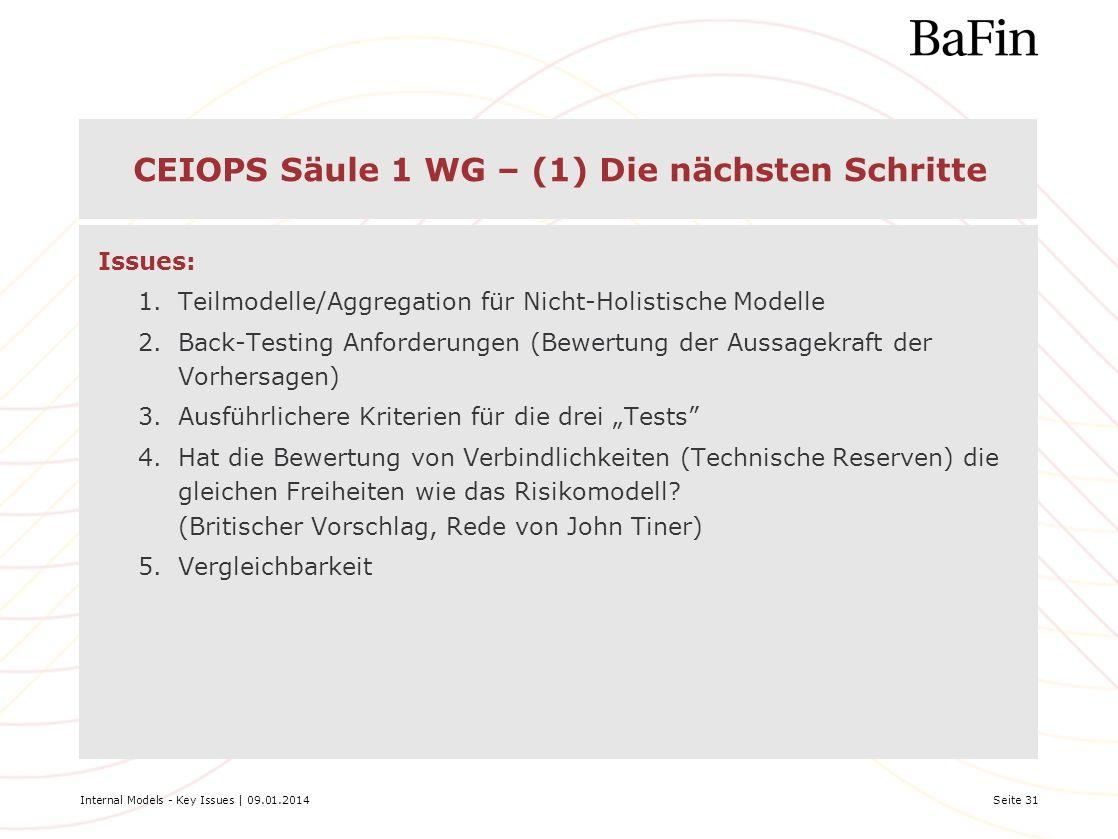 CEIOPS Säule 1 WG – (1) Die nächsten Schritte