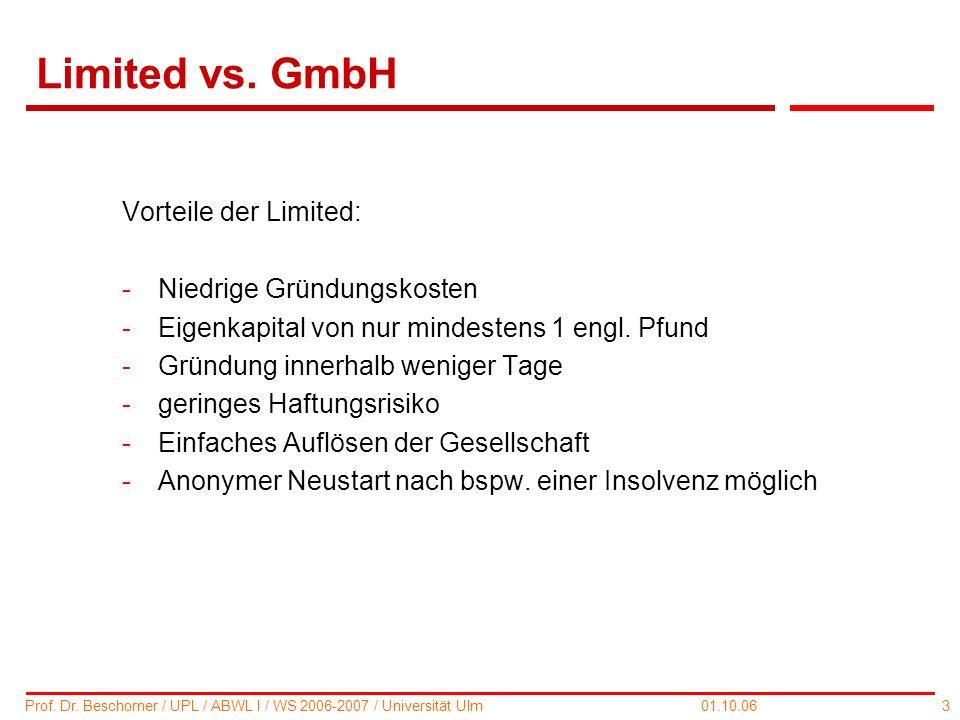 Limited vs. GmbH Vorteile der Limited: Niedrige Gründungskosten