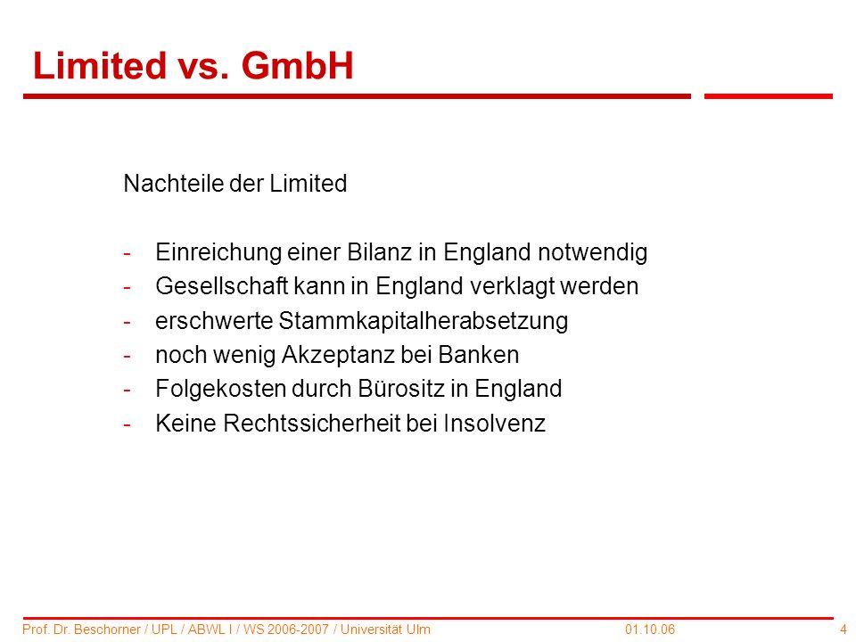 Limited vs. GmbH Nachteile der Limited