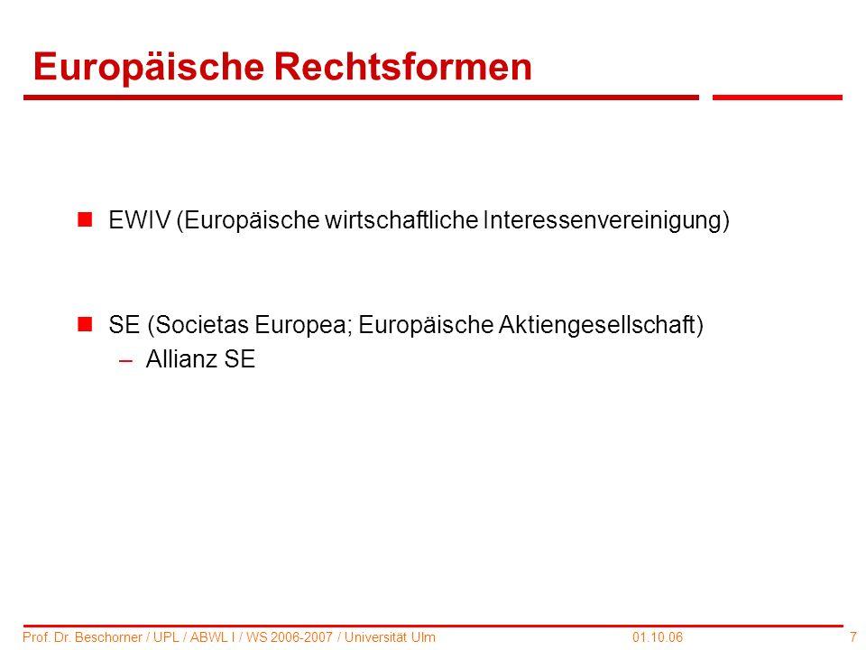 Europäische Rechtsformen