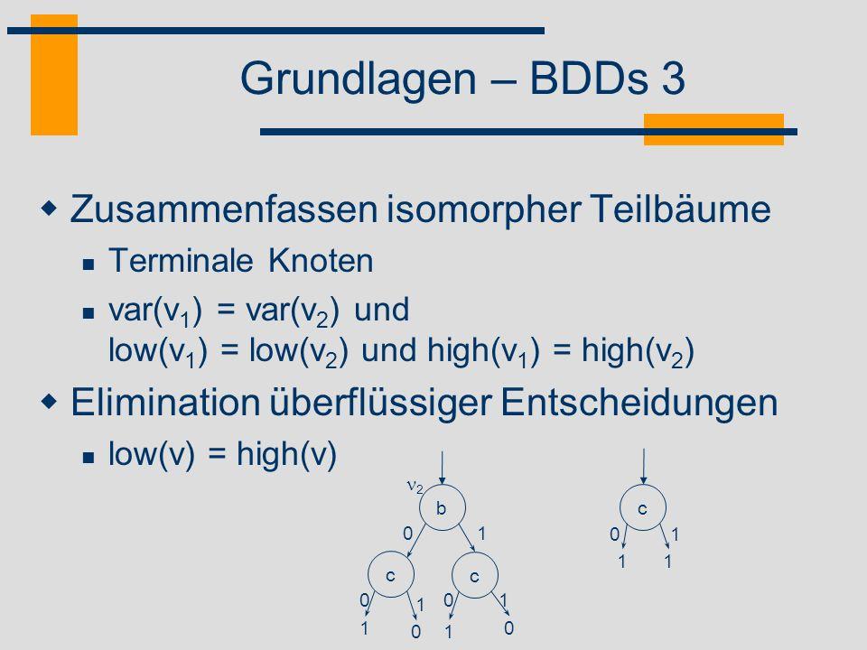 Grundlagen – BDDs 3 Zusammenfassen isomorpher Teilbäume