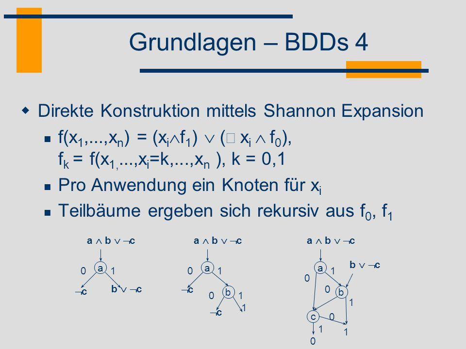 Grundlagen – BDDs 4 Direkte Konstruktion mittels Shannon Expansion
