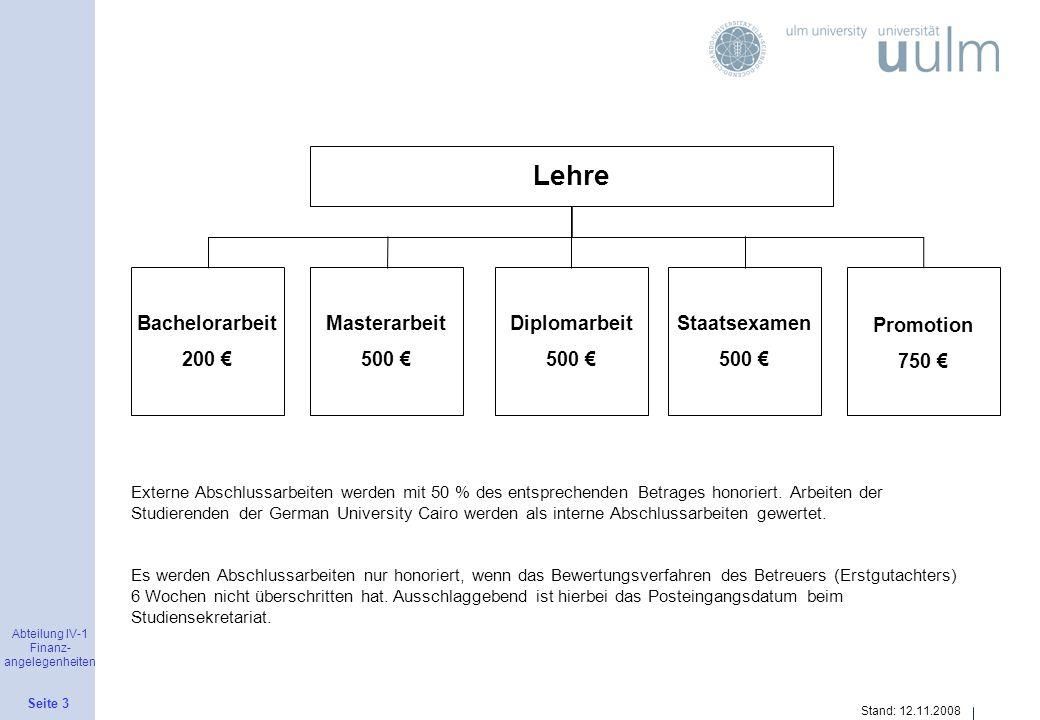 Lehre Bachelorarbeit 200 € Masterarbeit 500 € Diplomarbeit 500 €
