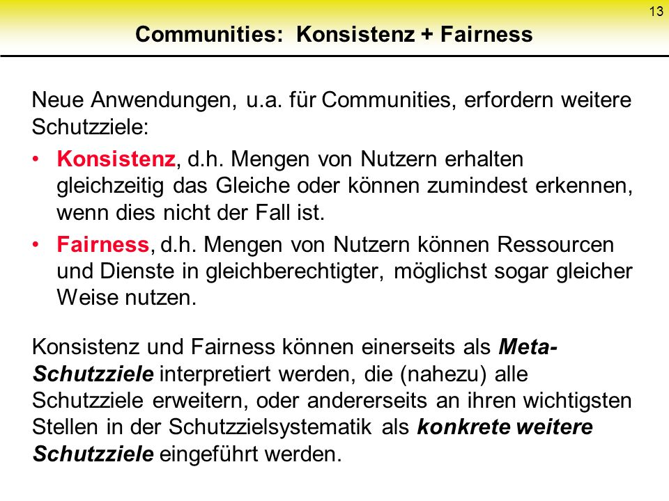Communities: Konsistenz + Fairness