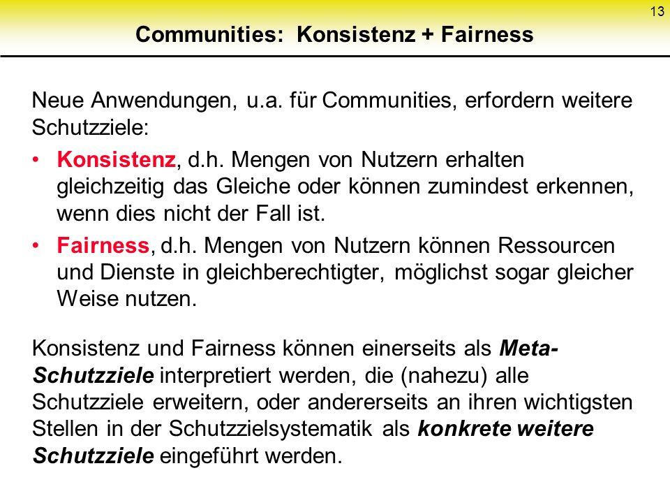 Communities: Konsistenz + Fairness