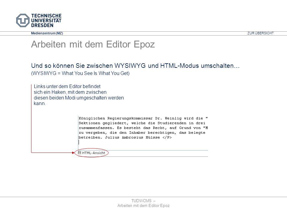 Arbeiten mit dem Editor Epoz