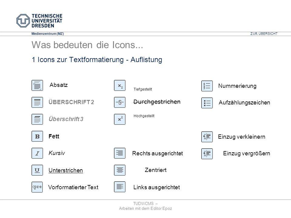 1 Icons zur Textformatierung - Auflistung