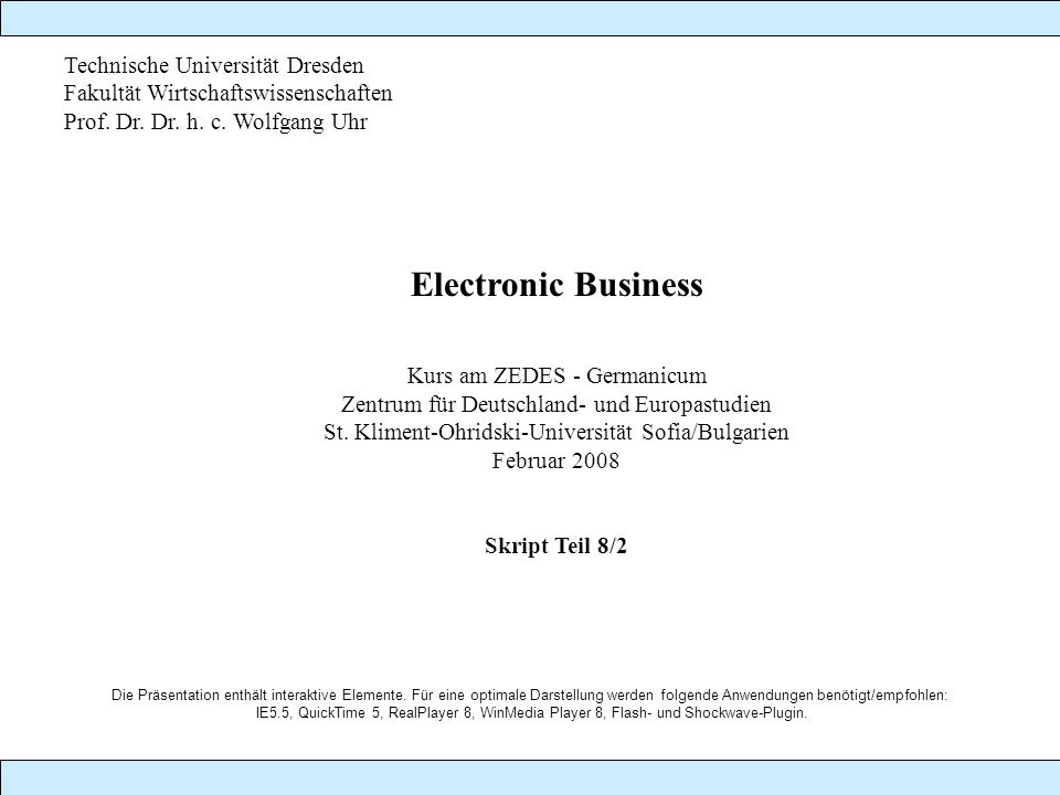 Electronic Business Technische Universität Dresden