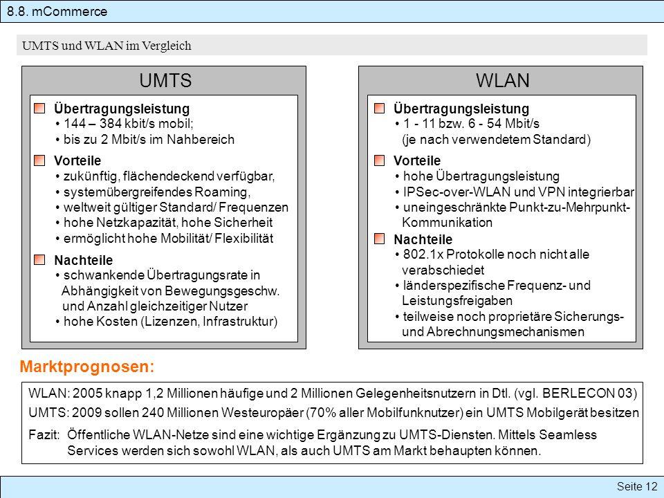UMTS WLAN Marktprognosen: 8.8. mCommerce UMTS und WLAN im Vergleich