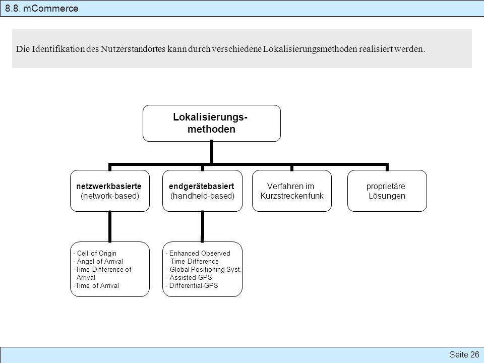 8.8. mCommerce Die Identifikation des Nutzerstandortes kann durch verschiedene Lokalisierungsmethoden realisiert werden.