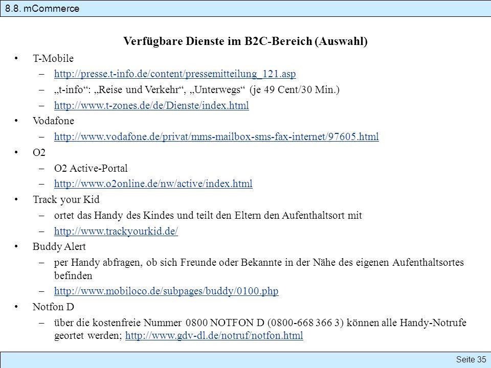Verfügbare Dienste im B2C-Bereich (Auswahl)