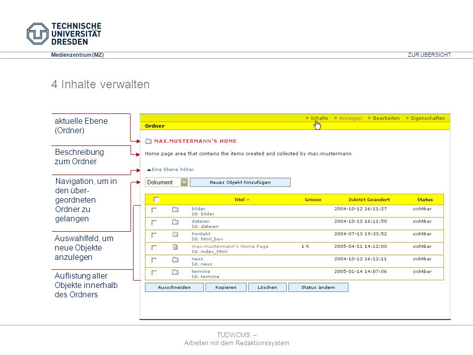 4 Inhalte verwalten aktuelle Ebene (Ordner) Beschreibung zum Ordner