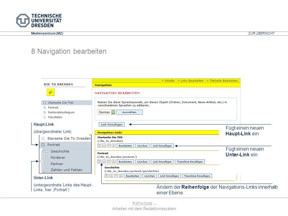 8 Navigation bearbeiten