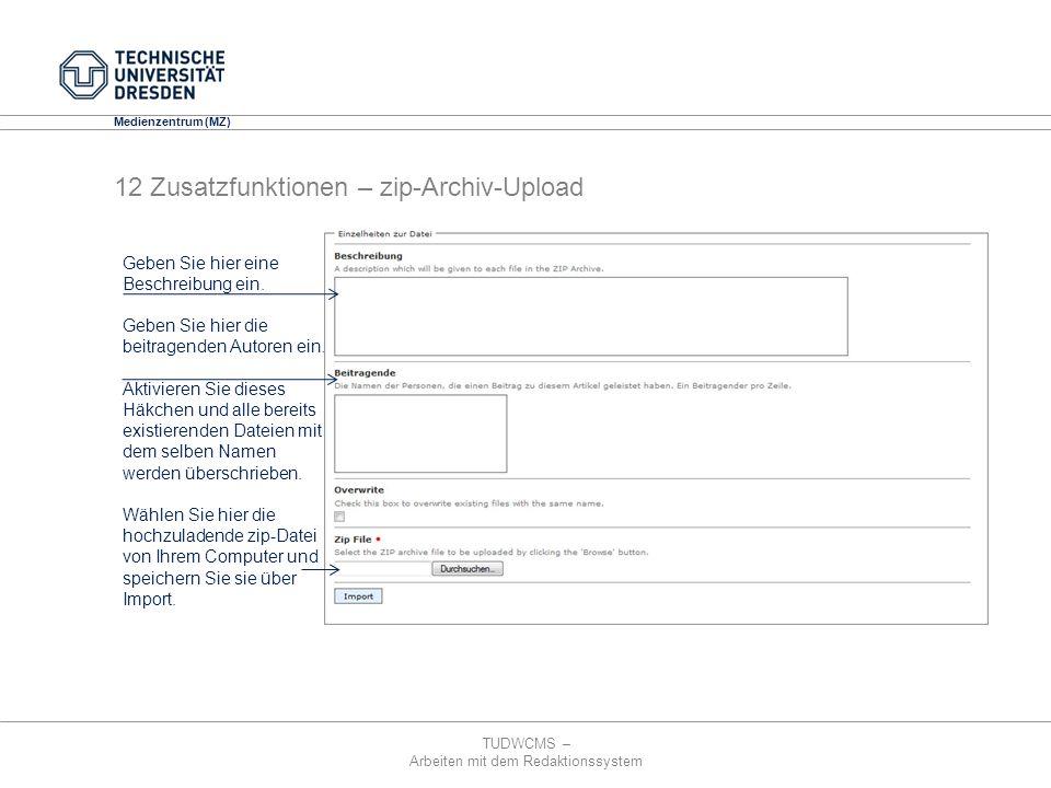 12 Zusatzfunktionen – zip-Archiv-Upload