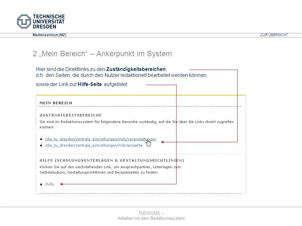 """2 """"Mein Bereich – Ankerpunkt im System"""