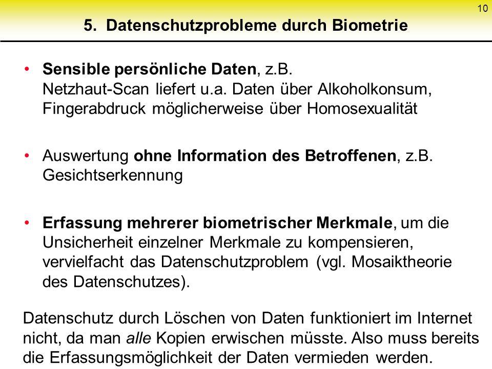 5. Datenschutzprobleme durch Biometrie