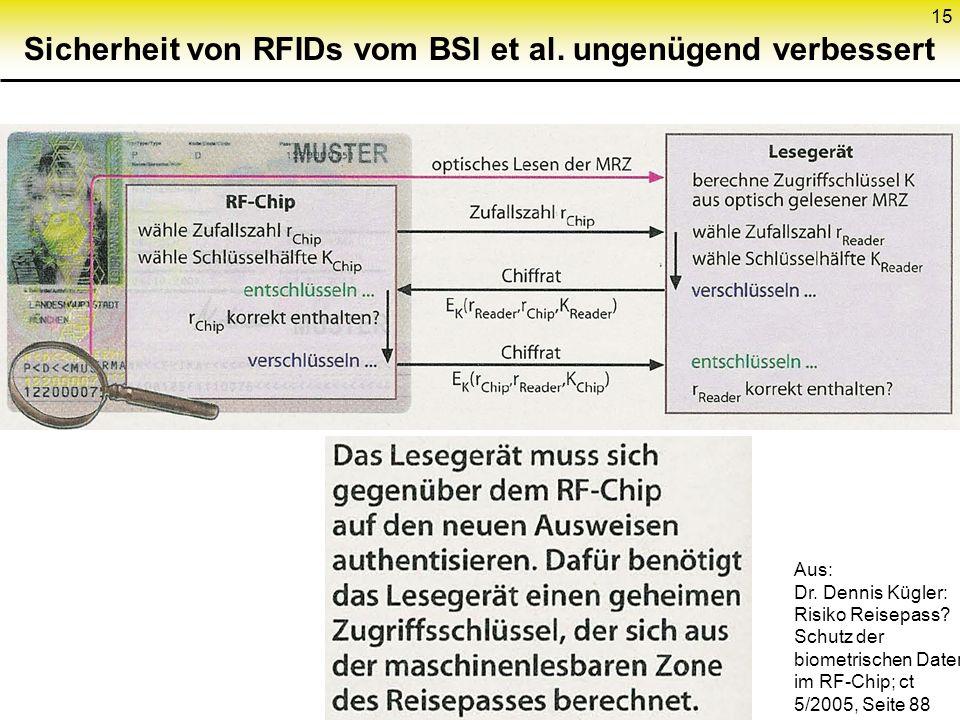 Sicherheit von RFIDs vom BSI et al. ungenügend verbessert