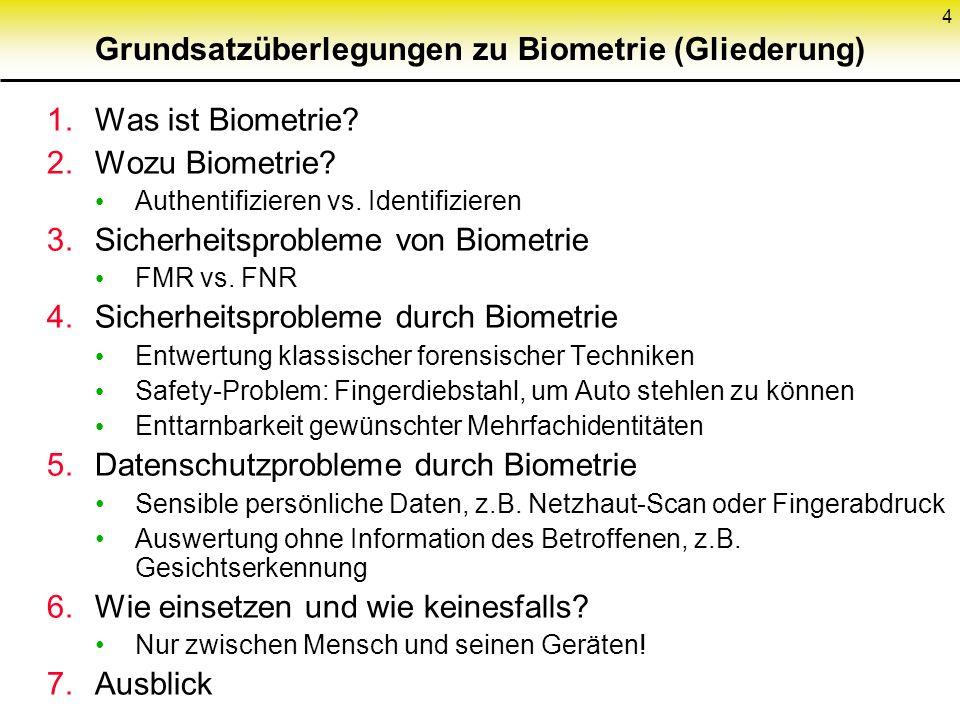 Grundsatzüberlegungen zu Biometrie (Gliederung)