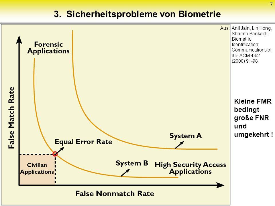 3. Sicherheitsprobleme von Biometrie