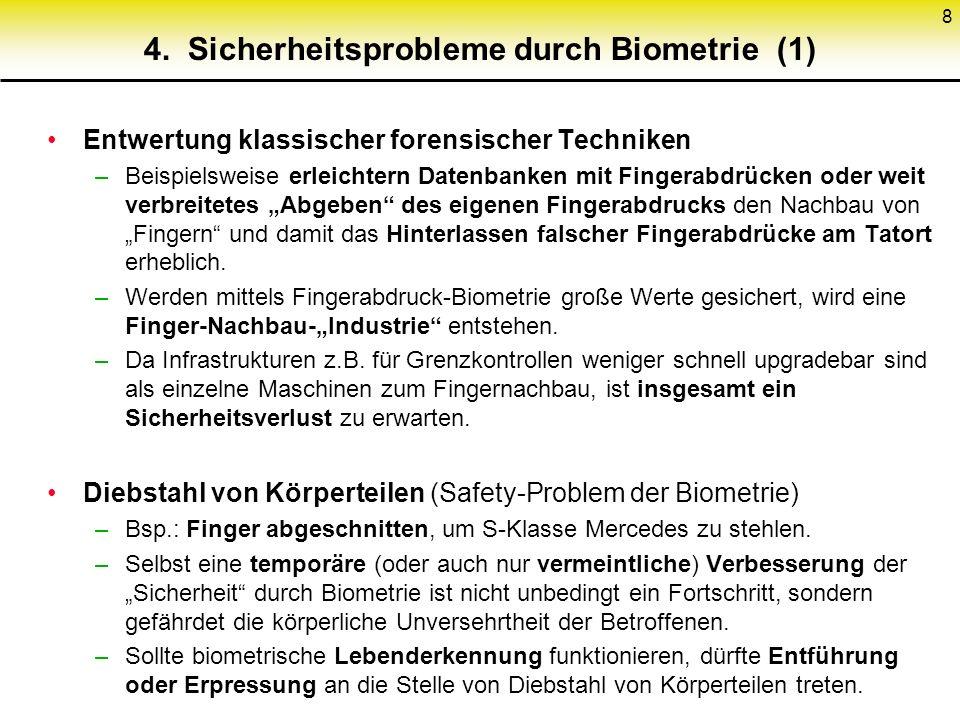 4. Sicherheitsprobleme durch Biometrie (1)