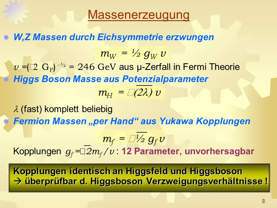 Massenerzeugung mW = ½ gW v mH = Ö(2l) v mf = Ö½ gf v