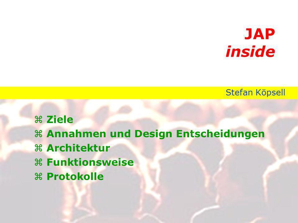 JAP inside Ziele Annahmen und Design Entscheidungen Architektur