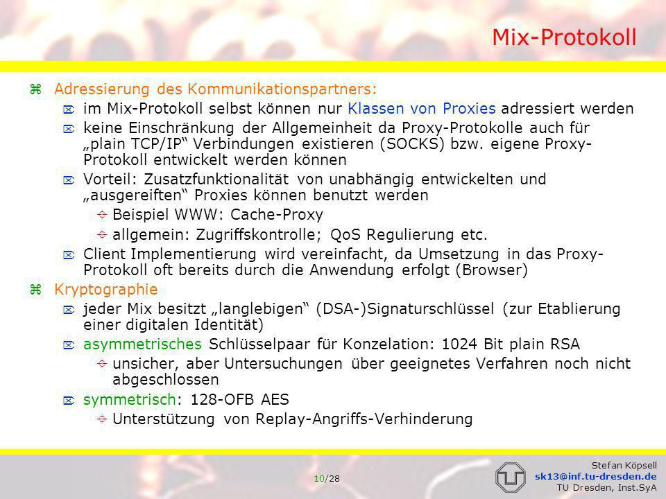 Mix-Protokoll Adressierung des Kommunikationspartners: