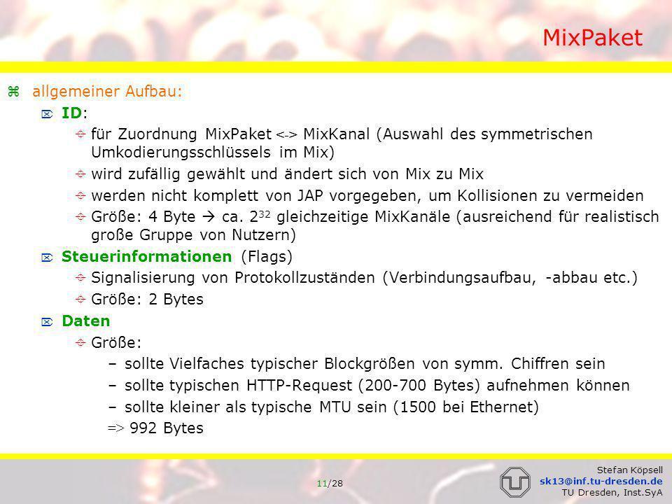 MixPaket allgemeiner Aufbau: ID: