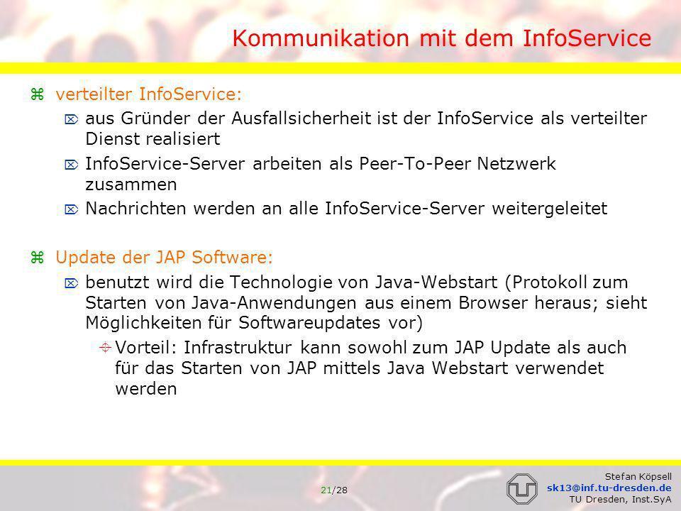 Kommunikation mit dem InfoService