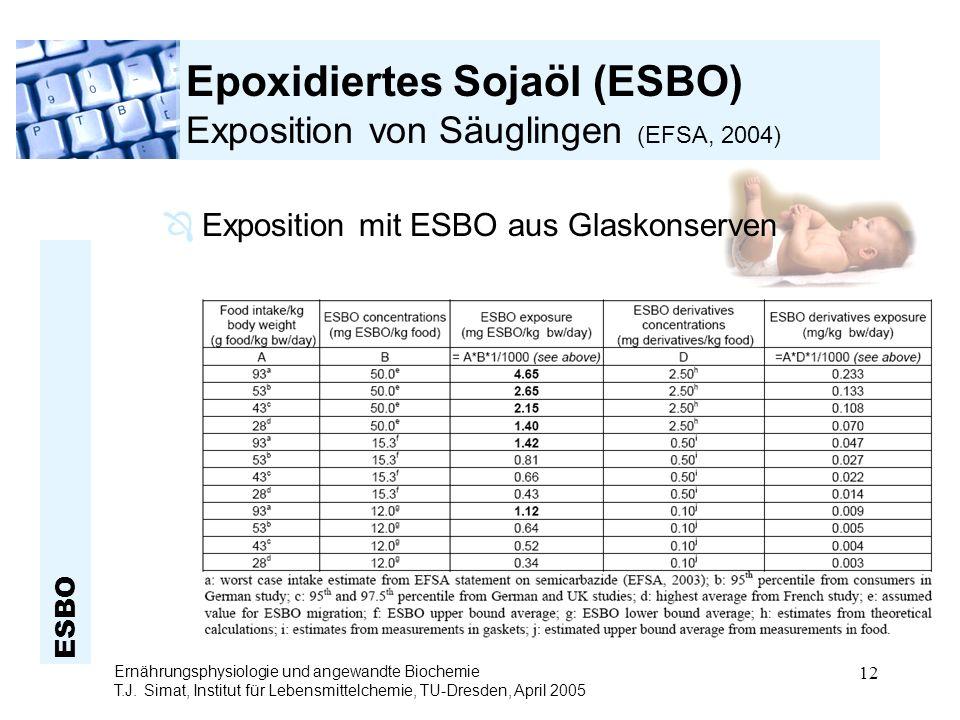 Epoxidiertes Sojaöl (ESBO) Exposition von Säuglingen (EFSA, 2004)