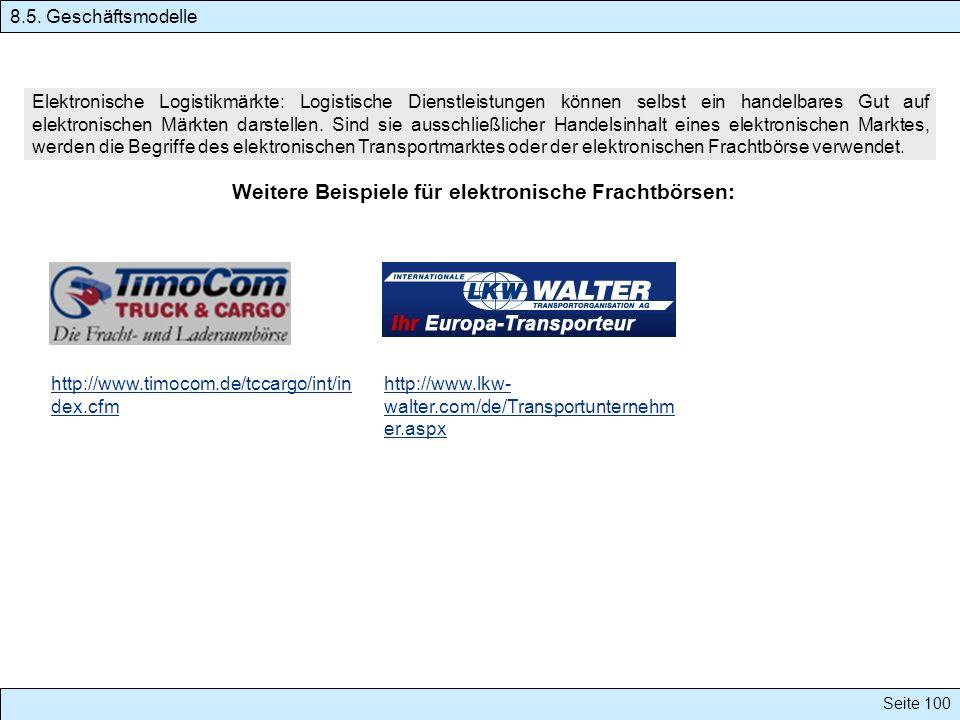 Weitere Beispiele für elektronische Frachtbörsen: