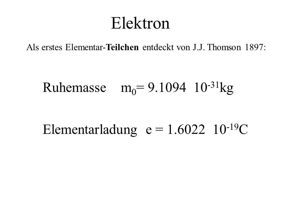 Elektron Ruhemasse m0= 9.1094 10-31kg