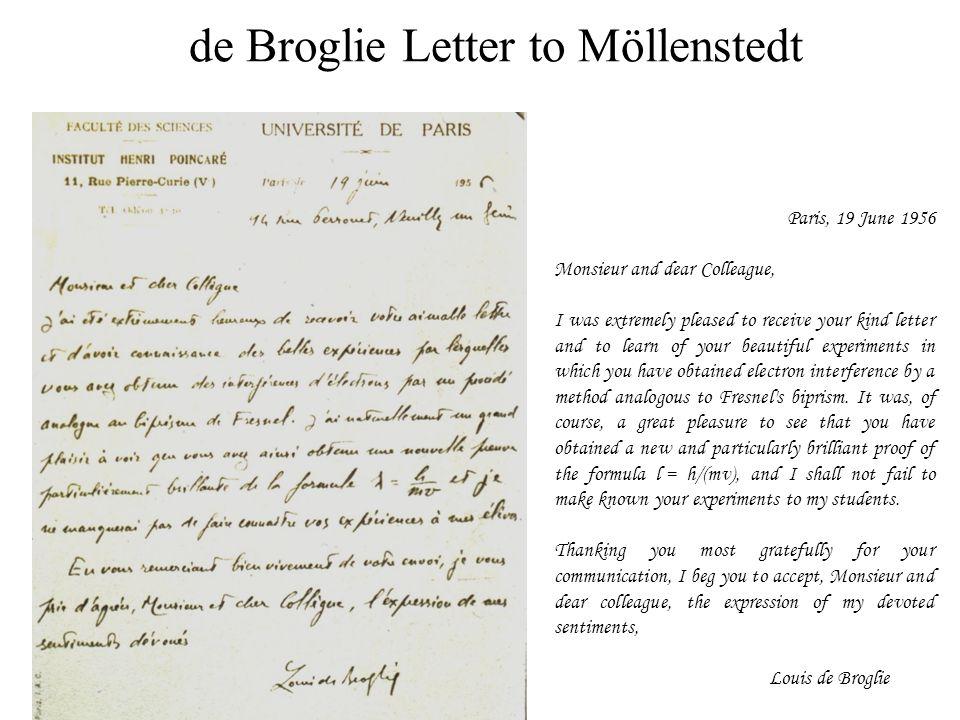 de Broglie Letter to Möllenstedt